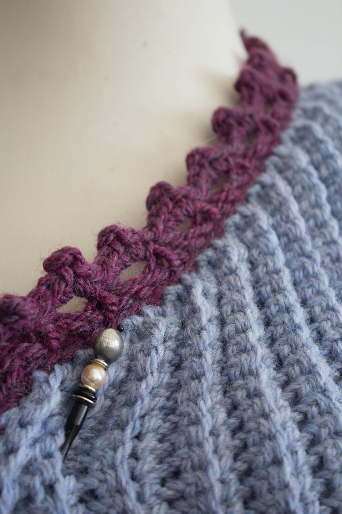 Hairpin lace edging on Crossed Arrow