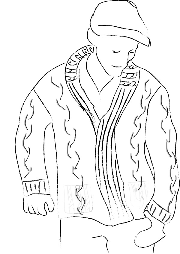black and white drawing of young man in sweater with hat on.