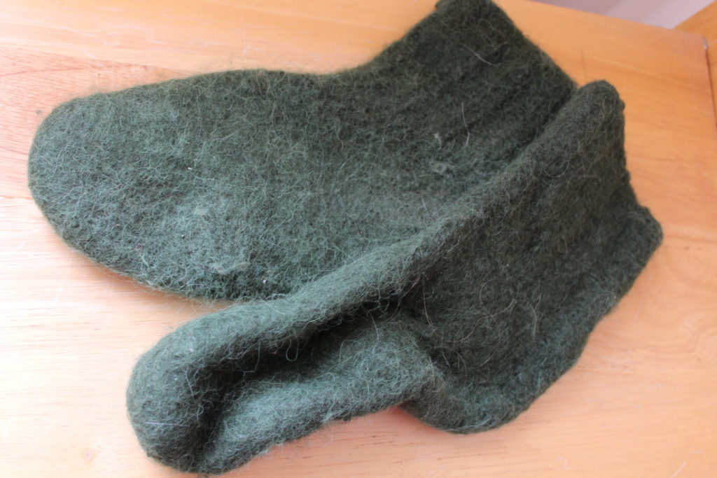 Forest Green socks, felted