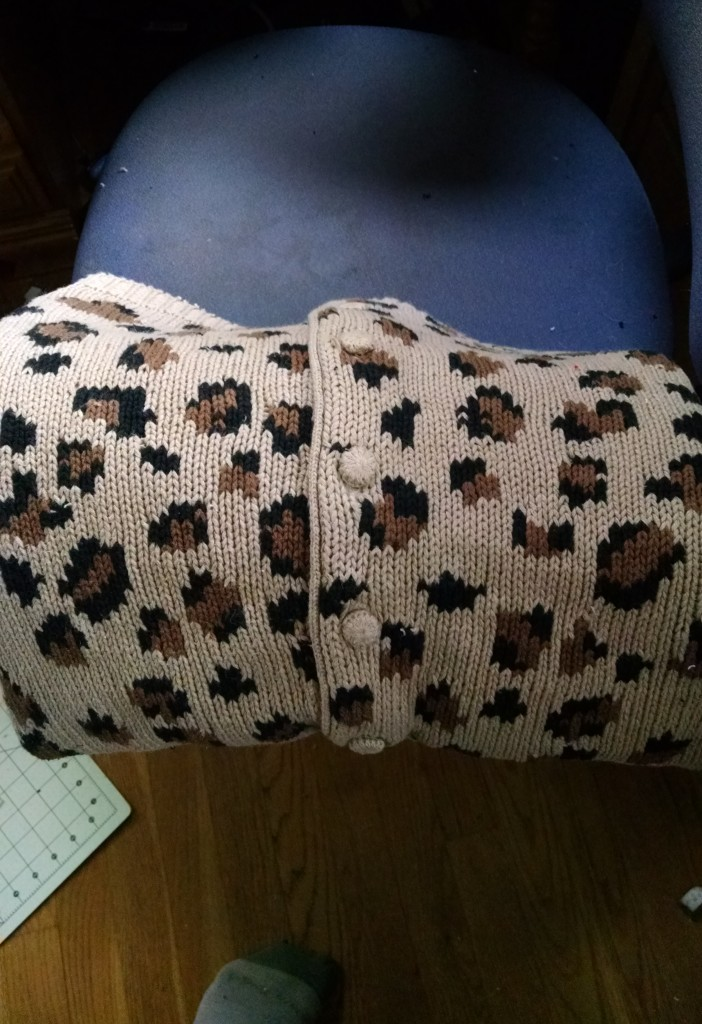 I cut pieces to preserve the button bands, then had to make sure the button bands were in the center of the pillow