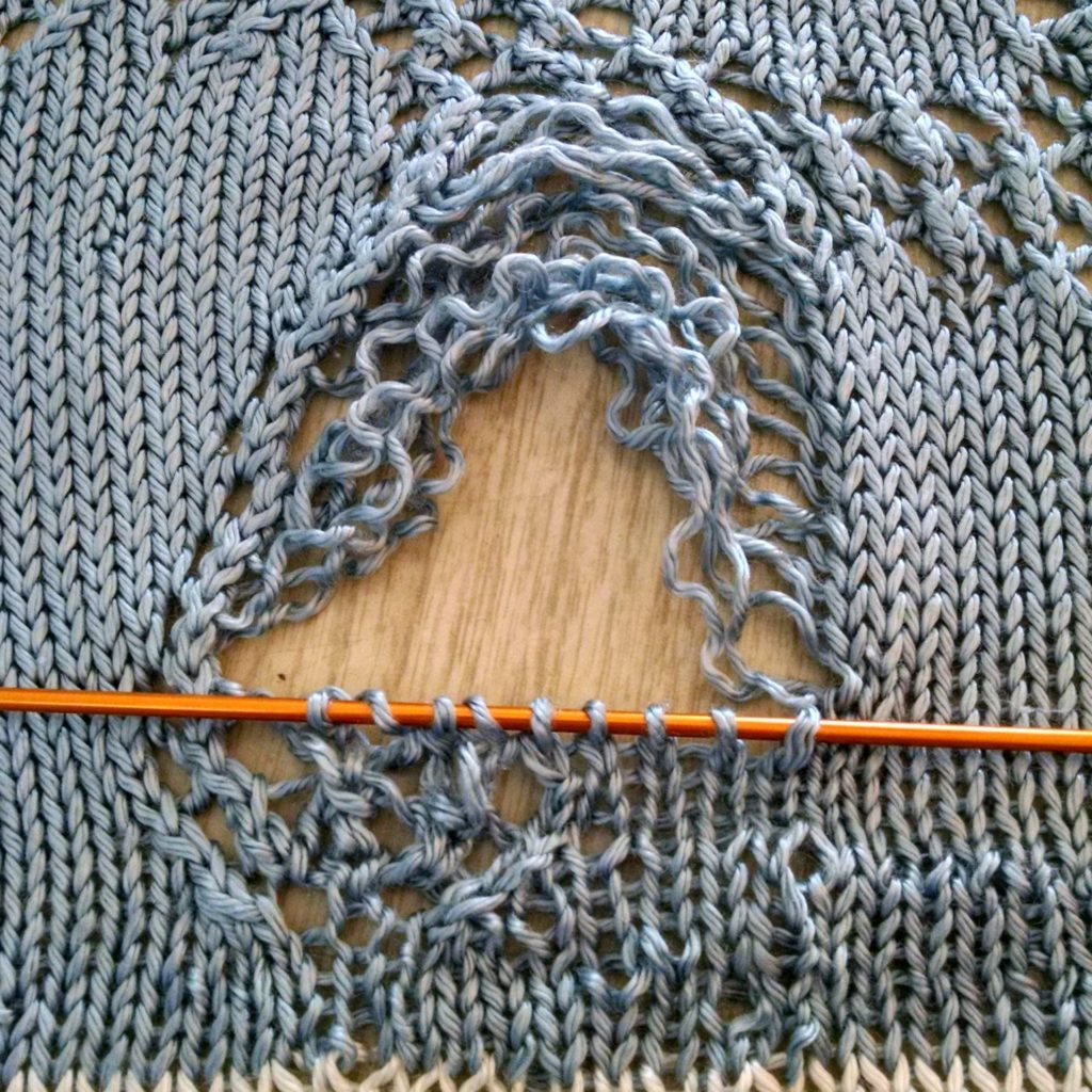 reknitting and reweaving the foot of the lace knit hobbyhorse